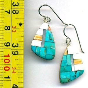 Jewelry - Zuni Sterling Silver Mosaic Inlay Earrings